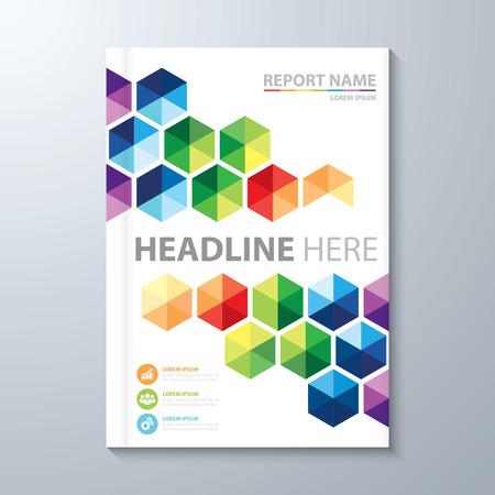 カラフルな六角形の背景を抽象化します。年次報告書、パンフレット、イラストの A4 サイズのカバー デザイン テンプレート レイアウト