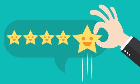 Valoración de los clientes dar un cinco estrellas en caja de la burbuja. concepto de realimentación positiva. ilustración. diseño minimalista y plana Ilustración de vector