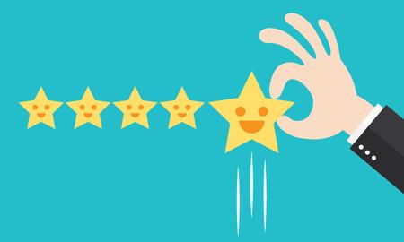 La opinión del cliente da un cinco estrellas. Concepto de retroalimentación positiva ilustración. Diseño minimalista y plano. Ilustración de vector