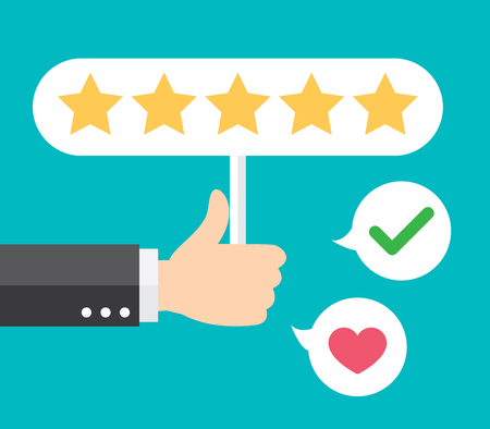 Business hand thumb up with customer review give a five star. Positive feedback concept. Vector illustration. Minimal and flat design.