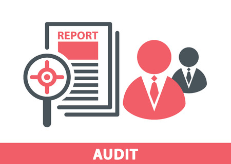 auditing: Target icon in magnifier on a report sheet with business man symbol isolated on white, Audit concept. Vector illustration.