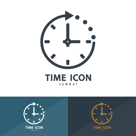 business time: Time icon symbol. Vector illustration,   template design with business card Stock Photo