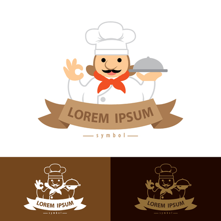 ok hand symbol: Chef with ok hand symbol icon. Vector illustration,  template design with business card . Menu card. Flat design style. Stock Photo