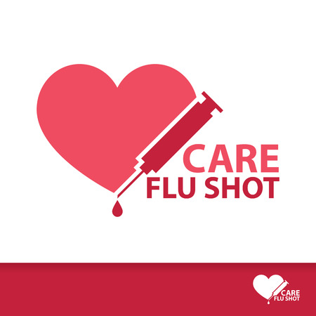 care providers: Care Flu Shot symbol icon. Vector illustration, Logo flat template design