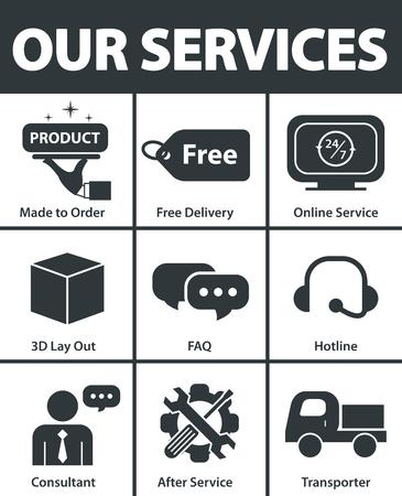 私たちのサービスのシンボル アイコンは、デザインを設定します。ベクトル図  イラスト・ベクター素材