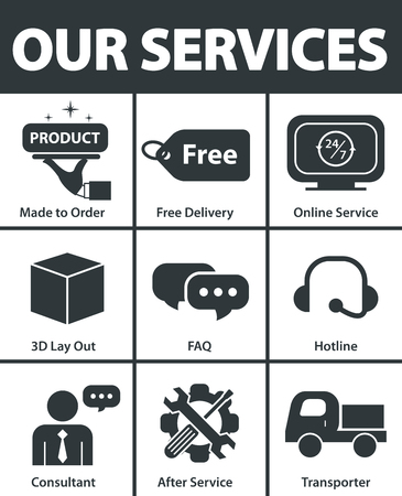 Our services symbol icon set design. Vector illustration 일러스트