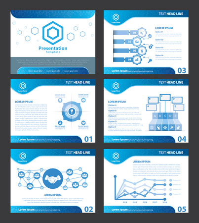 Abstracte Blauwe presentatiesjablonen. Vector illustratie. Bedek platte lay-out van infographic elementen design set voor brochure, flyer, folder, marketing, reclame