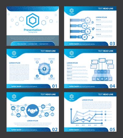 Résumé bleu modèles de présentation. Vector illustration. Couvrir à plat d'éléments de conception infographique fixé pour brochure, flyer, dépliant, marketing, publicité