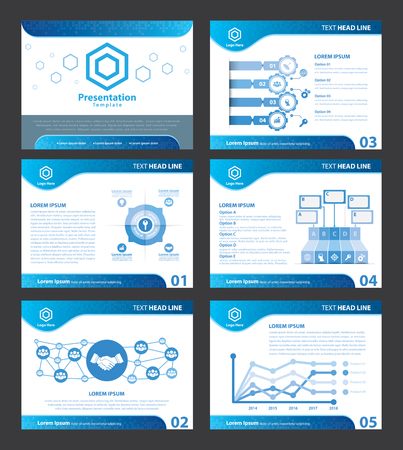 Streszczenie Blue szablony prezentacji. ilustracji wektorowych. Przykryć płaski układ infografika Zestaw elementów projektu broszura, ulotka, ulotki, marketingu, reklamy