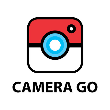 camera symbol: CAMERA GO symbol icon isolated on white. vector illustration, Logo template design.