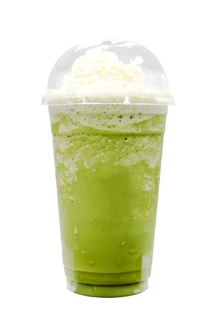 cool backgrounds: Green tea frappe isolated on white background with clipping path.