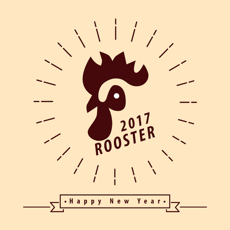 yellow line: Chinese new year 2017, Year of rooster symbol isolated on yellow background, Modern line design, Vector illustration.