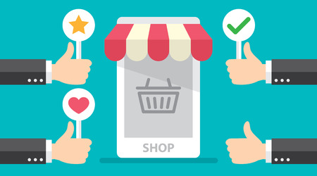 Business hand thumb up with customer review give positive feedback to online store.