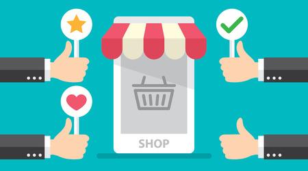 El pulgar de la mano del negocio para arriba con la revisión del cliente da la regeneración positiva a la tienda en línea.