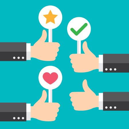 Bedrijfs hand duim omhoog met klantenbeoordeling geven positieve feedback. Goed feedbackconcept. Vector illustratie. Minimale en vlakke vormgeving.