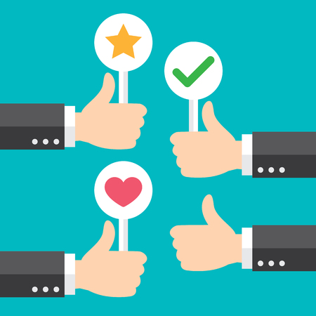Business hand thumb up with customer review give positive feedback. good feedback concept. Vector illustration. Minimal and flat design. 向量圖像
