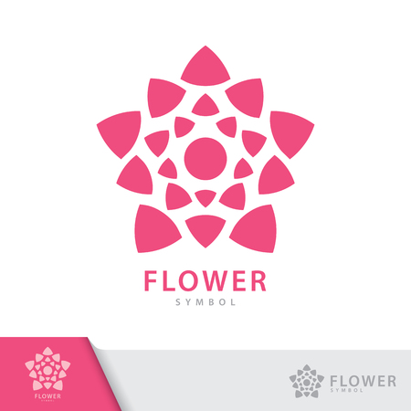 Pink flower symbol icon isolated on white background. Vector illustration, Logo template design.