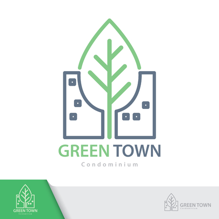 condominium: Green Town symbol icon isolated on white background. Condominium logo design template. Vector illustration. Real estate concept