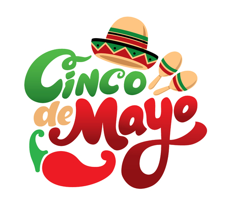Cinco de mayo symbol. Hand drawn lettering isolate on white background. Design element for poster, postcard. Vector illustration. Stock Photo