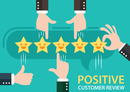 Customer review give a five star in bubble box. Positive feedback concept. Vector illustration. Minimal and flat design. Illustration