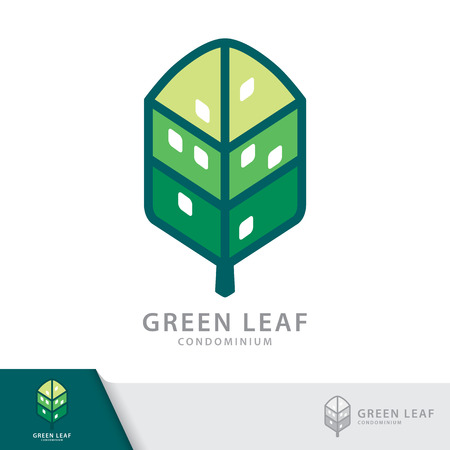condominium: Green leaf condominium logo template design elements, Real Estate symbols icon. Vector illustration, Sustainability construction concept.