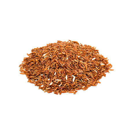 Red rice isolated on the white background.