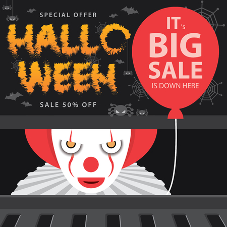 Big sale in the Halloween day, Background design template for brochure. 일러스트