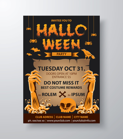 Halloween card invitation. Vector illustration. Can be use for cover design poster, flyer, brochure, card. 일러스트