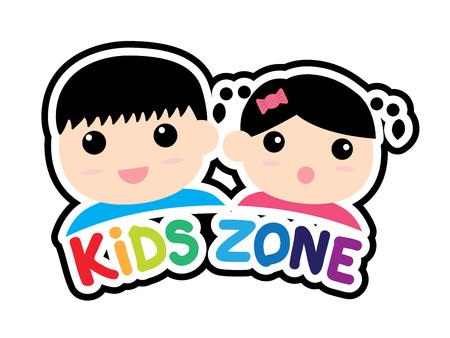 Sticker of Kids zone symbol isolated on white background. Vector illustration. 일러스트