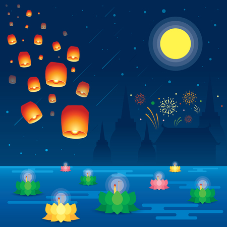 Loy Krathong festival in Thailand. Vector Illustration.