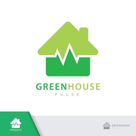 Green house pulse  symbol icon isolated on white background. Vector illustration, Logo template design.