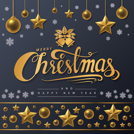 Golden text of Merry Christmas on black background. Merry Christmas and Happy New Year lettering for invitation, greeting card, posters, flyer and baner. Hand drawn design, calligraphic design. Vector illustration.