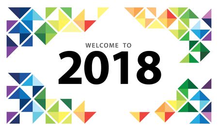 2018 New Year on white background with a colorful geometric design element for presentation, flyer, leaflet, postcard, poster and brochure. Vector illustration.