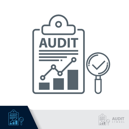 Report sheet with Magnifier symbol icon  isolated on white, Audit concept. Vector illustration. Logo template design.
