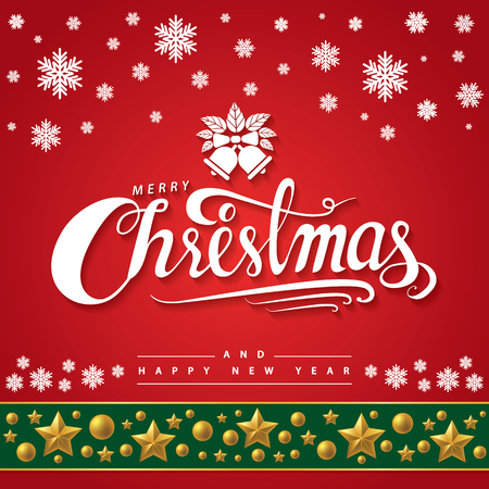 White text of Merry Christmas and happy new year on red background. Lettering design for invitation, greeting card, posters, flyer and baner. Hand drawn design, Vector illustration. 일러스트