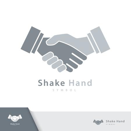 Shake hand symbol icon isolated on white background. Vector illustration, Logo template design. 일러스트