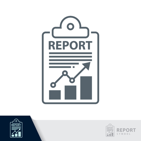 Report sheet symbol icon  isolated on white, Audit concept. Vector illustration. Logo template design.