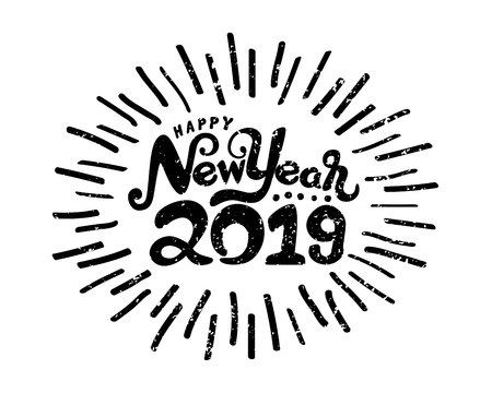 Happy new year 2019 symbol isolated on white background. Holiday vector Illustration. Hand draw design. vintage style. 일러스트