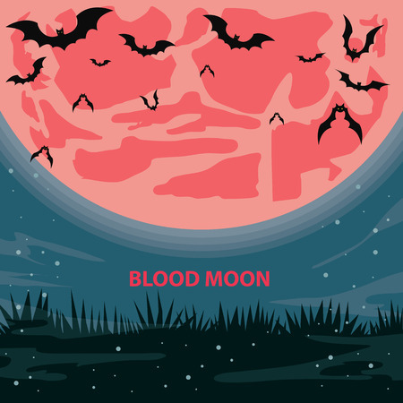Blood Moon Vector illustration.