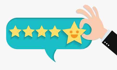 Customer review give a five star in bubble box. Positive feedback concept. Vector illustration. Paper cut design.