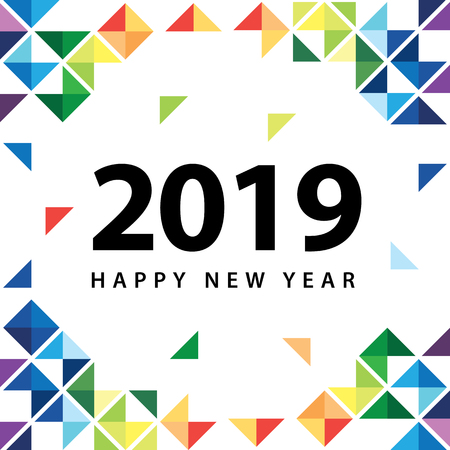 Happy new year 2019 with abstract colorful triangle on white background. Design for flyer, greeting, brochure, banner and invitations card. illustration.