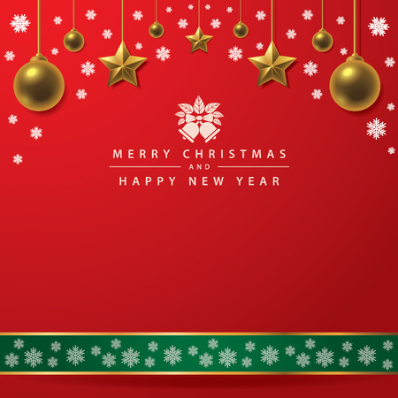 Merry Christmas and Happy New Year typography on red background with Gold ball, gold star and snowflake. illustration.