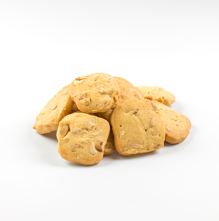 Homemade cookies stack on white background.