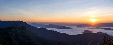 A panorama view of mountain in morning at Phu chi fa, Chiang Rai, Thailand.