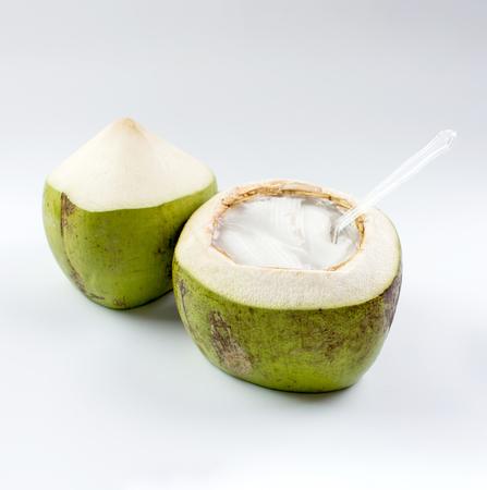 Gelatina di cocco giovane su sfondo bianco Archivio Fotografico