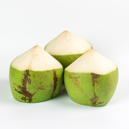 Group of fresh young coconut on white background.