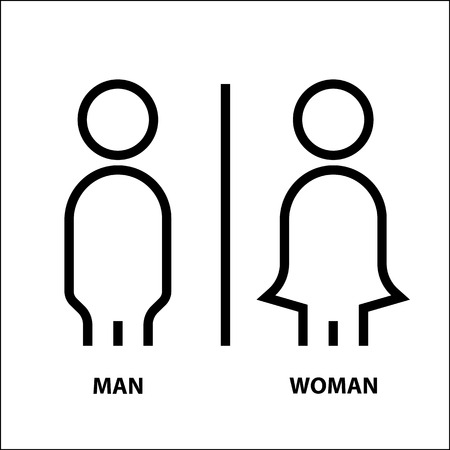 Man and woman icon thin line, modern minimal symbol flat design. Vector illustration on white background.