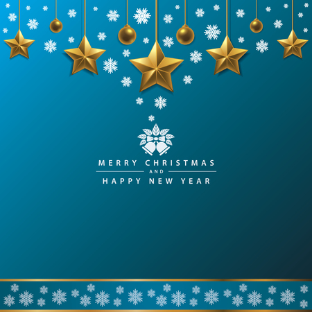 Merry Christmas and Happy New Year typography on Blue background with Gold ball, gold star and snowflake. Vector illustration.