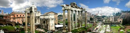 Panoramic of Rome Forum, Italy 스톡 콘텐츠