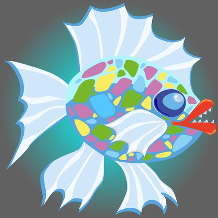 evil cartoon fish Stock Photo